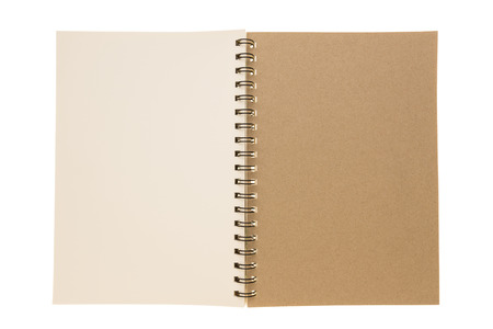 interstitial: isolated of open  blank spiral green read paper notebook with interstitial page Stock Photo