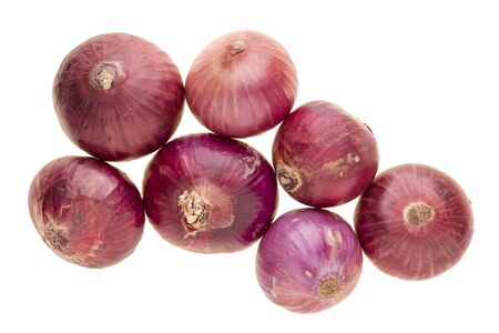 top 7: isolated of seven fresh shallot on white background Stock Photo
