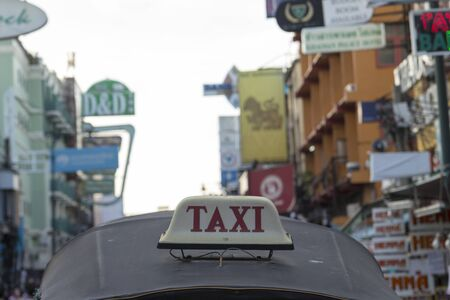 three wheeler: BANGKOK THAILAND - DEC 24 : taxi cab of tuktuk taxi car in Khao San road on december 24, 2016. tuktuk is popular server for tourist in Bangkok.