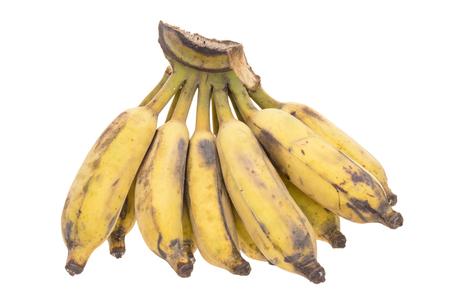 banana skin: hand of very ripe Pisang Awak banana on white background