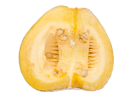 top view of yellow pumkin isolated on while background