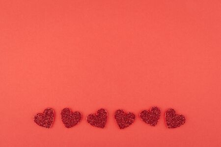 glister: design of glitter red heart line on red paper background Stock Photo