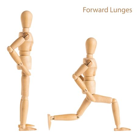 demonstration of wood manikin in forward lunges exercise pose on white background. Stock Photo