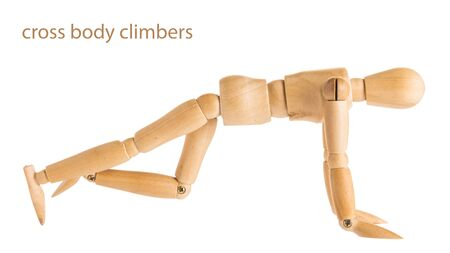 marioneta de madera: demonstration of wood manikin in cross body climbers exercise pose on white background.