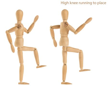 demonstration of wood manikin in high knee running to place exercise pose on white background.