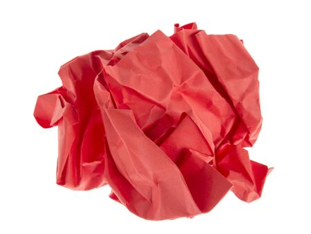 ball lump: lump and crumpled red paper isolated on white background
