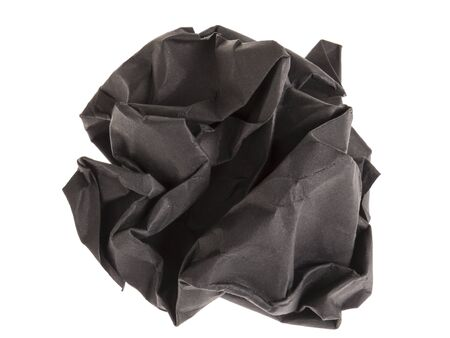 ball lump: lump and crumpled black paper isolated on white background