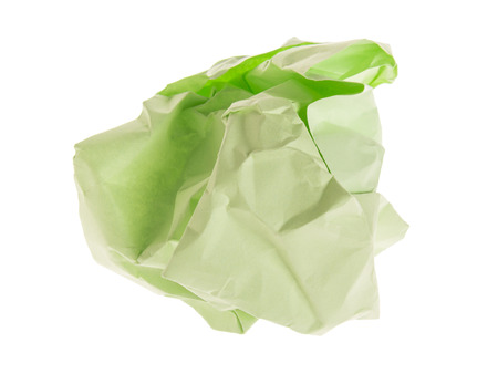 lump and crumpled light green paper isolated on white background Stock Photo