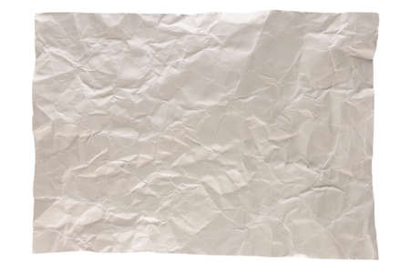 isolation of wrinkled gray paper on white background