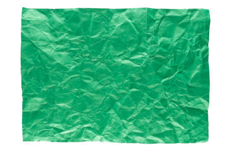 isolation of wrinkled green paper on white background