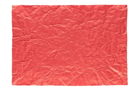 isolation of wrinkled red paper on white background Stock Photo