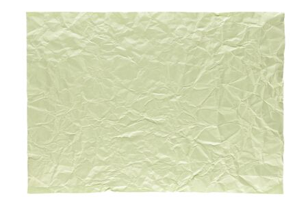 isolation of wrinkled light green paper on white background