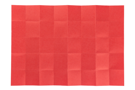 table folded red paper 5 by 8 cell isolated on white background Stock Photo