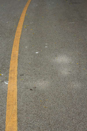 perspective of curve yellow solid line on gray roadway in park