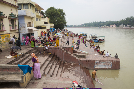 Rishikesh, India - June, 24, 2015 view of Ganga river embankment in Rishikesh, Rishikesh is one of sacred city of hinduism. Editöryel
