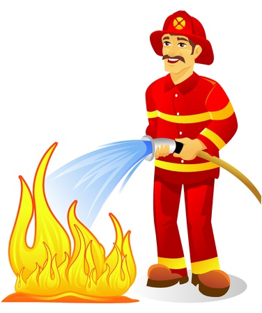 Fire fighter with water hose Stock Vector - 8561489