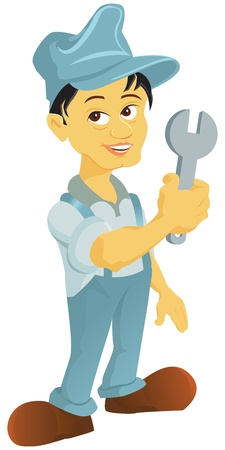 Mechanic holding a wrench Stock Vector - 8561482