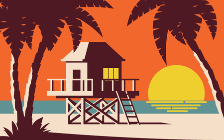 CABIN HOUSE ON STILTS ON THE BEACH WITH SUNSET BACKGROUND Illustration