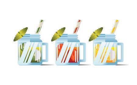 SUMMER VARIOUS FRUITS BEVERAGES Ilustração