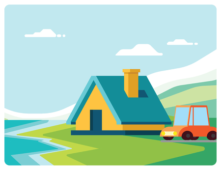 BUNGALOW WITH CAR BESIDE RIVER  イラスト・ベクター素材