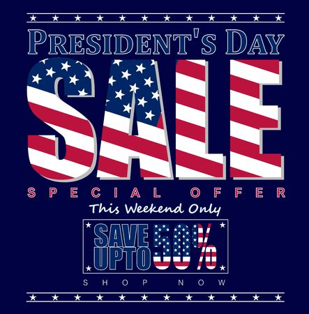 Vector illustration: Presidents Day Sale, special offer, save up to 50% text