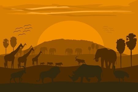 Vector illustration: classic African landscape with wild animals and Kilimanjaro.