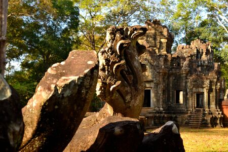 Closeup fa a Naga statue in the Angkor complex, Cambodia