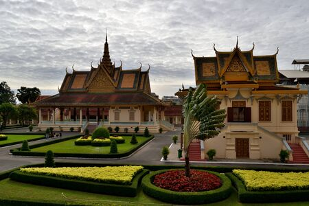 View of a building and adjacent gardens in the Royal Palace complex of Phnom Penh, Cambodia