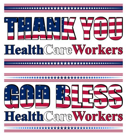 Vector illustration with thank you lettering for healthcare professionals for their efforts against the Covid-19 pandemic Ilustração