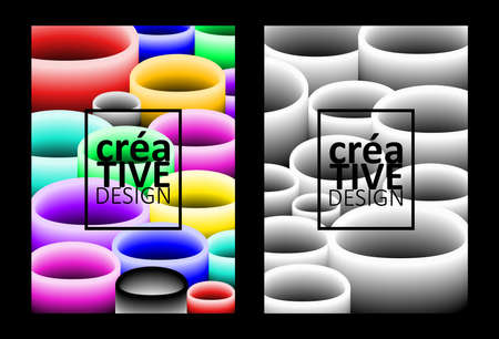 Set of abstract backgrounds with multicolored and monochrome objects for brochure design, flyer design, cover layout, business cards. Illusztráció