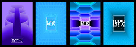 Set of futuristic abstract backgrounds for brochure design, flyer design, cover layout, business cards.