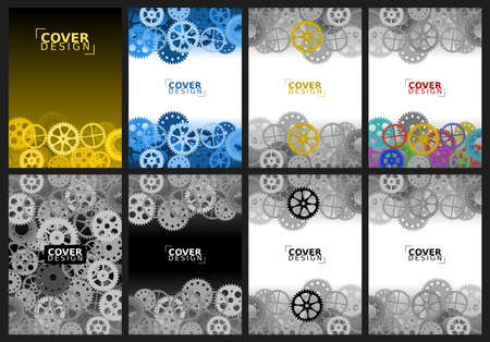 Set of abstract backgrounds with different gears for brochure design, flyer design, cover layout, business cards.