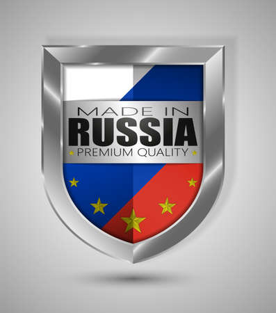 EPS10 Vector illustration. Realistic shield. Made in Russia, Premium Quality. Perfect for any use. Vettoriali