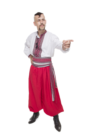 cossack: One Cossack in white background. Isolated Stock Photo