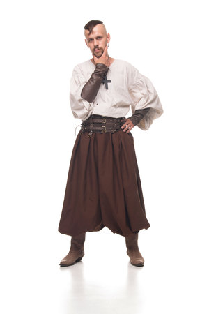 historical periods: One Cossack in white background. Isolated Stock Photo