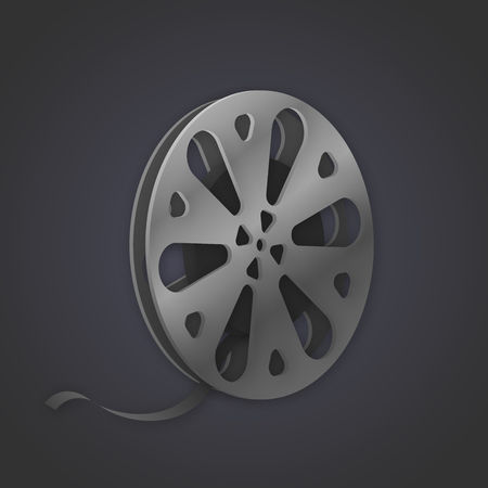 videocassette: Vector image of a tape reel on dark background Vectores