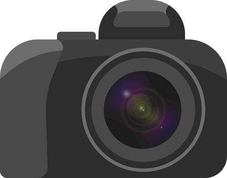 Een vectorbeeld van een camera met een duidelijk tot uitdrukking gebrachte lens in een minimale hoeveelheid detail op witte achtergrond