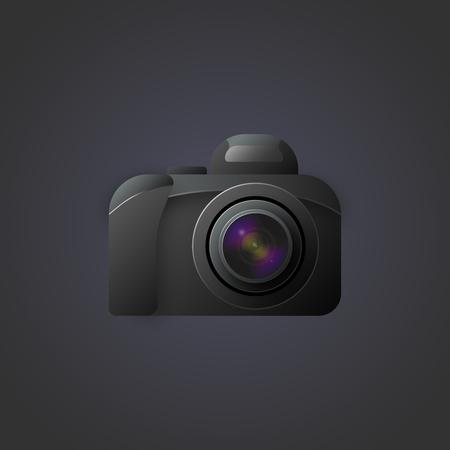 Vectorbeeld van een camera met een uitgesproken lens op donkere achtergrond