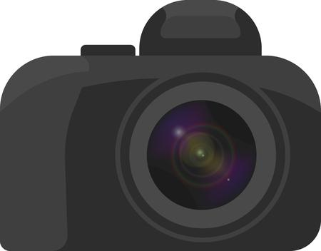 Vectorbeeld van een camera op een witte achtergrond met een minimum aan details van een prachtig getrokken lens