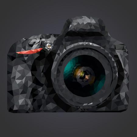 Vector afbeelding van een camera in low-poly stijl op een donkere achtergrond Stock Illustratie