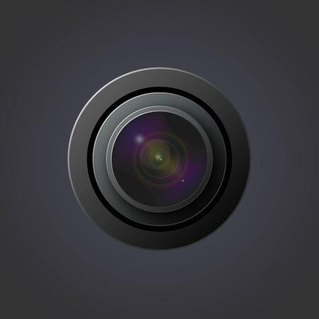 Vectorbeeld van een lens voor een camera met iriserende kleuren op een donkere achtergrond Stockfoto
