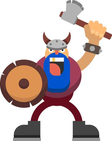 Vector drawing of a viking with an axe and a shield