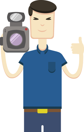 japanese ethnicity: Vector image of asian man with video camera Illustration