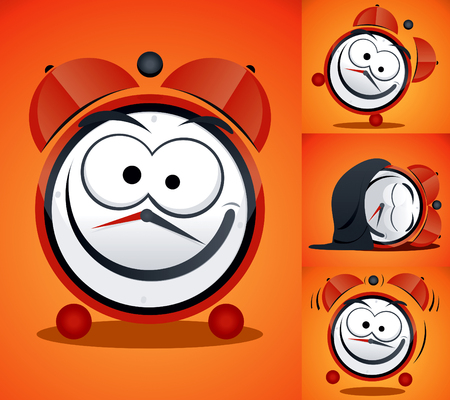 Cartoon Alarm Clock  drawing Vector