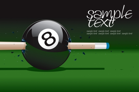 billiards tables: 8 Ball Broken  Illustration