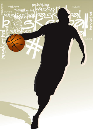 Drawing the man who played basketball Vector