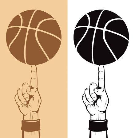 ballon basketball: Basket Ball sur le doigt  Illustration