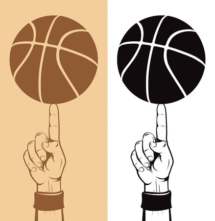Basketball Ball On The Finger  Illustration