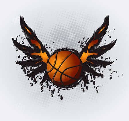 basketball shot: Basketball Design Element 1 Vector Drawing