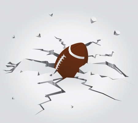 cleft: American Football Ball in Cracked Stone Set 6 Vector Drawing Illustration
